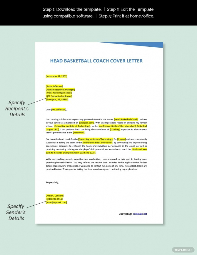 Free Head Basketball Coach Cover Letter Template In