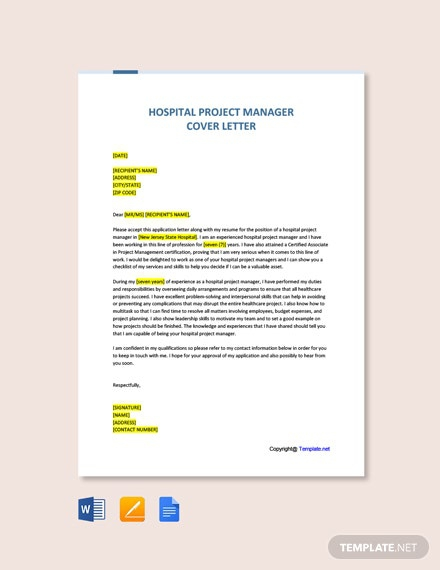 Free Hospital Project Manager Cover Letter