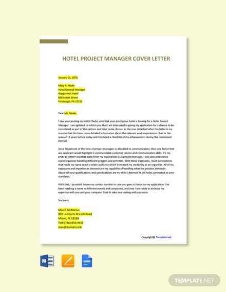 Free Hotel Manager Cover Letter Templates