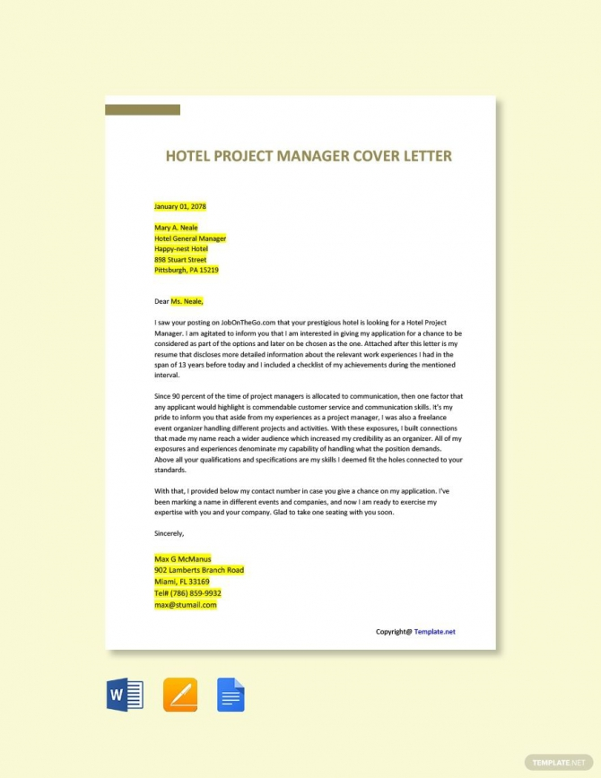 Free Hotel Project Manager Job Description Template In