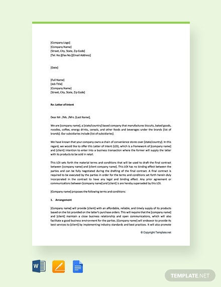 Free Intent Letter Templates