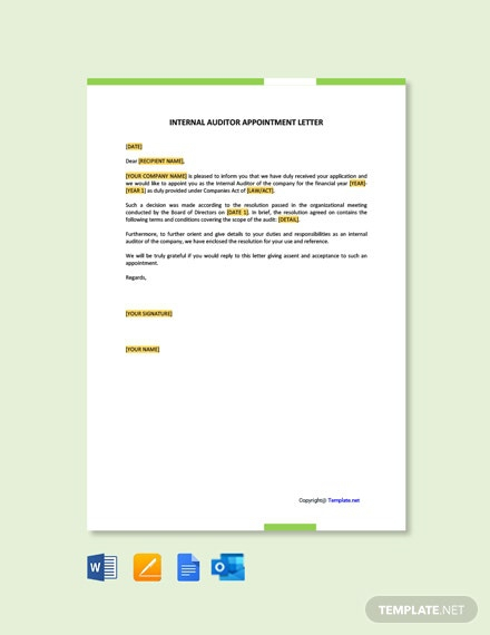 Free Internal Auditor Appointment Letter Template