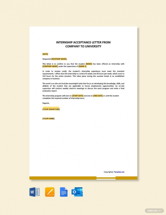 Free Internship Acceptance Letter From Company To University Ad