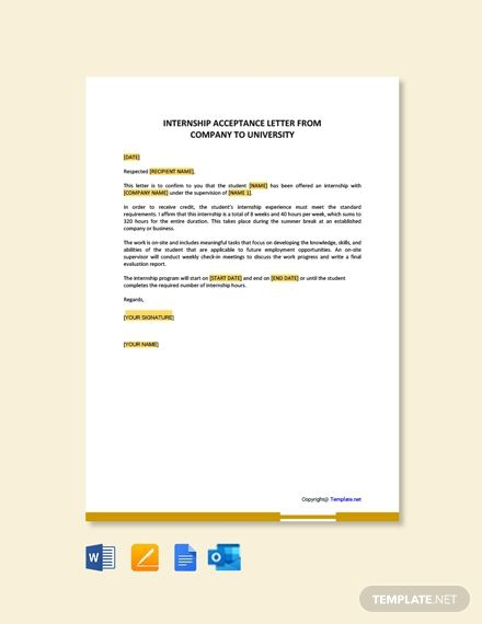 Free Internship Acceptance Letter From Company To University In