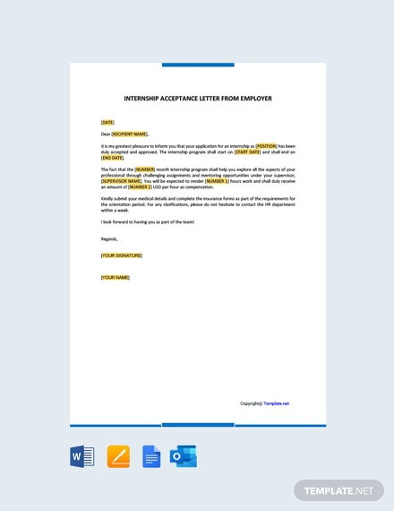 Free Internship Acceptance Letter From Employer Template