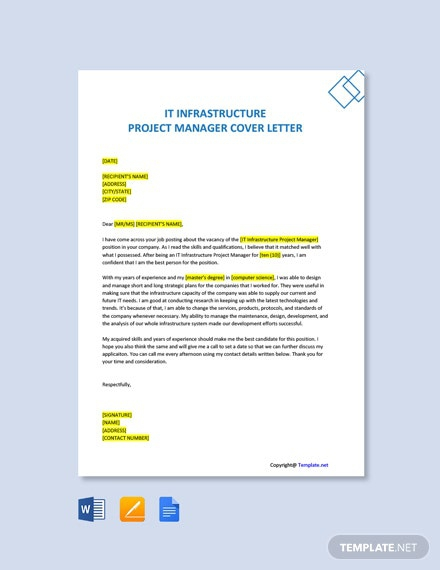Free It Infrastructure Project Manager Cover Letter