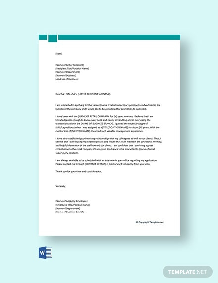 Free Job Promotion Cover Letter For A Retail Job Template