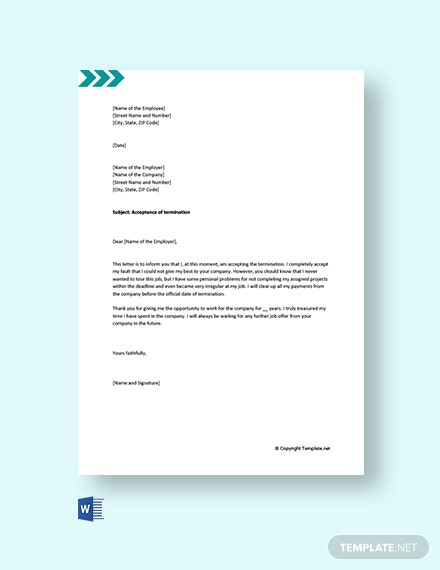 Free Job Termination Acceptance Letter Template