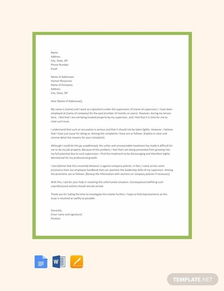 Free Letter Of Complaint Against Supervisor Template