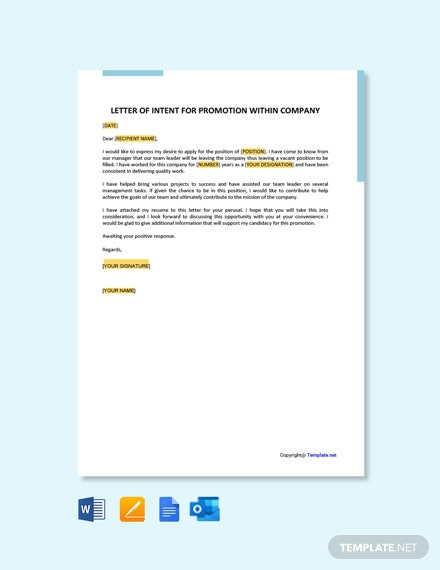 Free Letter Of Intent For Promotion Within Company Template