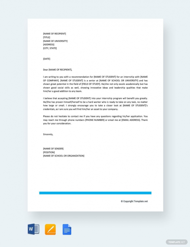 Free Letter Of Recommendation For Student Intern In