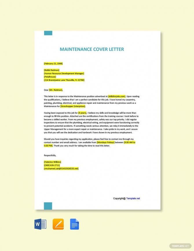 Free Maintenance Cover Letter Template In