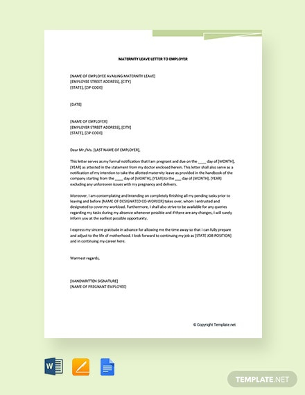 Free Maternity Leave Letter To Employer Template