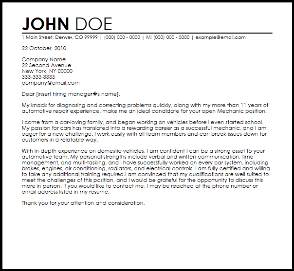 Free Mechanic Cover Letter Templates