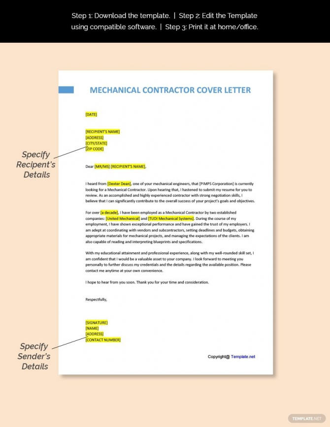 Free Mechanical Contractor Cover Letter Template In