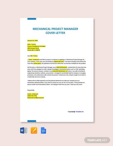 Free Mechanical Project Manager Cover Letter