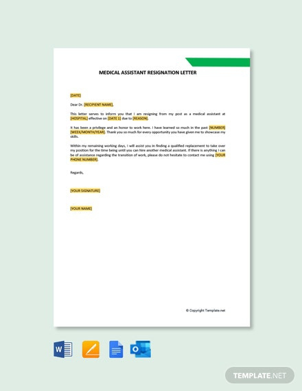 Free Medical Assistant Resignation Letter Template