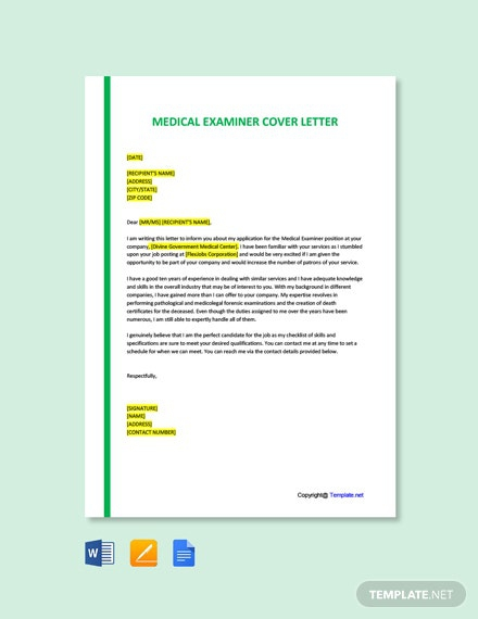 Free Medical Examiner Cover Letter