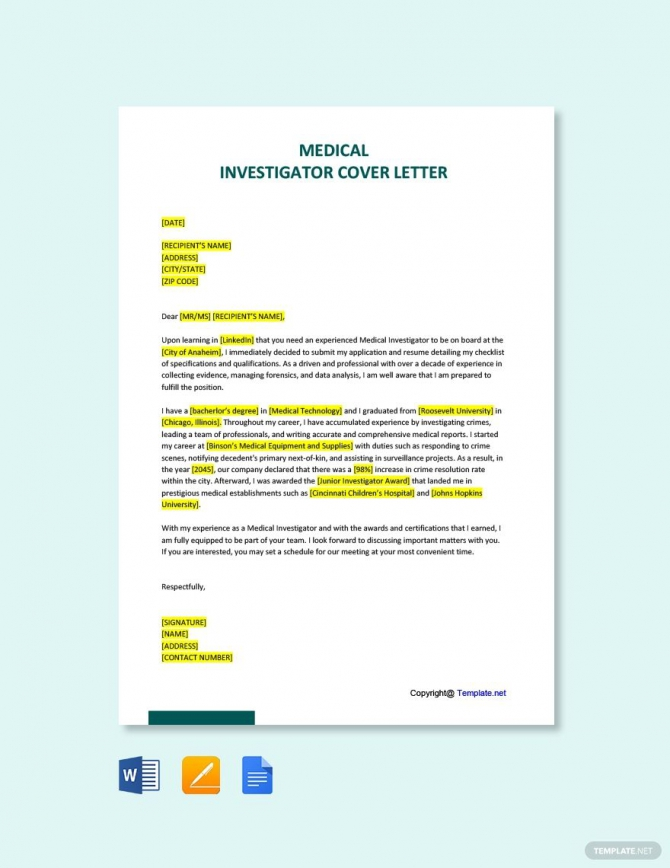 Free Medical Investigator Cover Letter