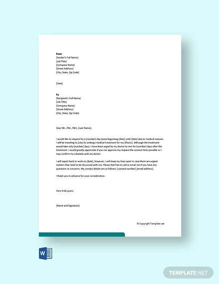 Free Medical Leave Letter For Employee Template