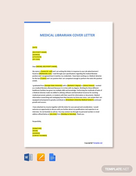Free Medical Librarian Cover Letter
