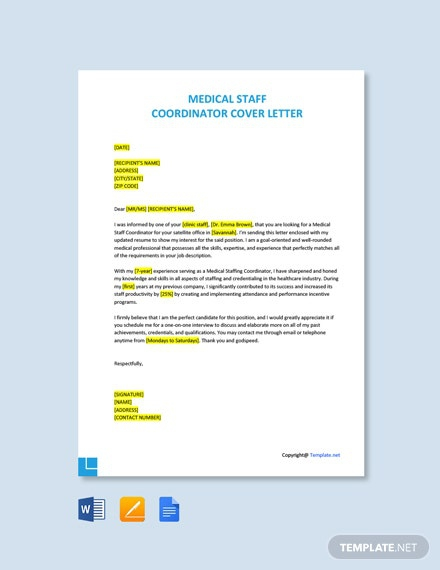 Free Medical Staff Coordinator Cover Letter