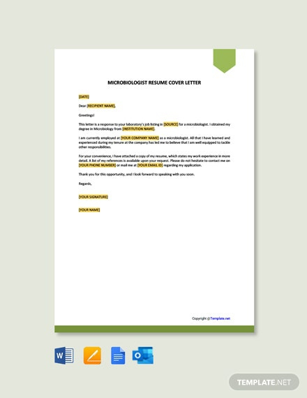 Free Microbiologist Resume Cover Letter Template