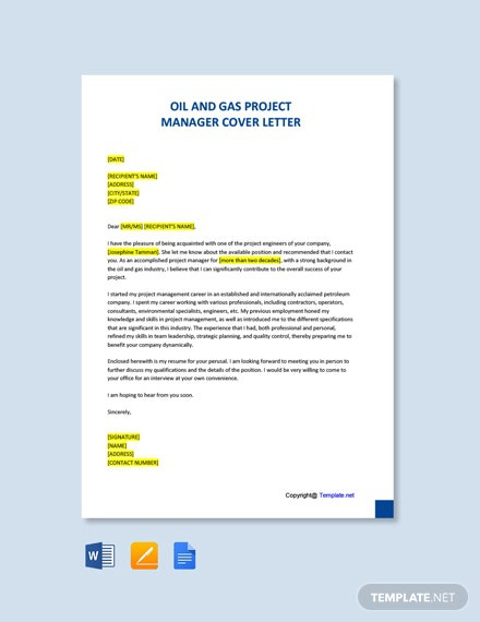 Free Oil And Gas Project Manager Cover Letter