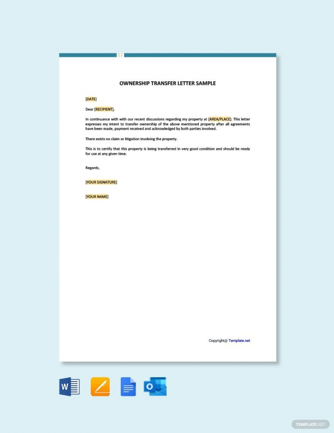 Free Ownership Transfer Letter Sample Ad    Paid  Ownership