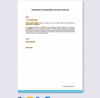 Performa Of Appointment Letter For Auditor