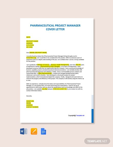Free Pharmaceutical Project Manager Cover Letter