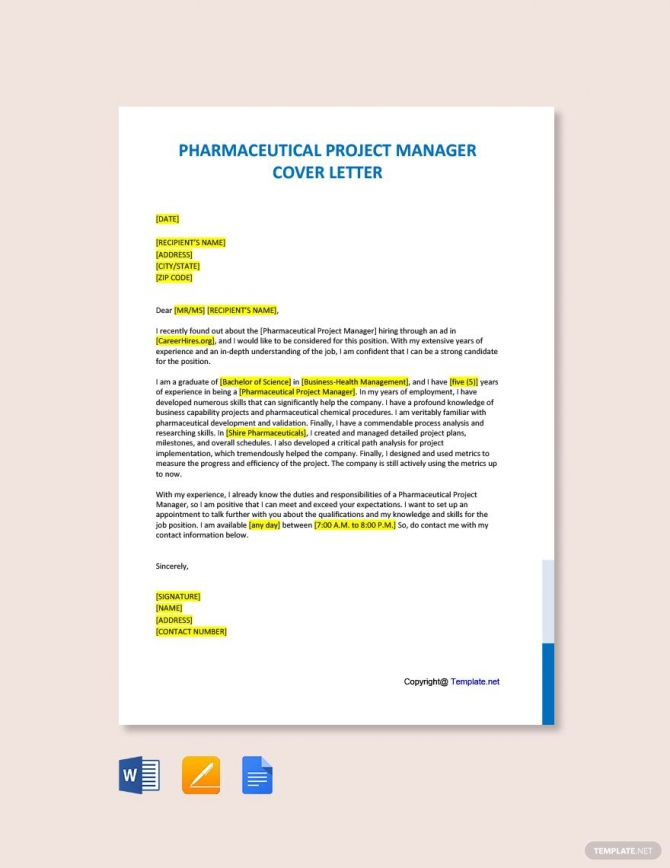 Free Pharmaceutical Project Manager Cover Letter Template In