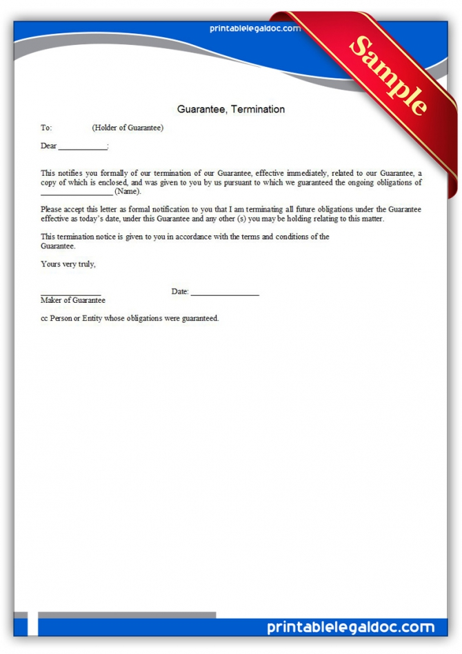 Free Printable Guarantee  Termination Form Generic