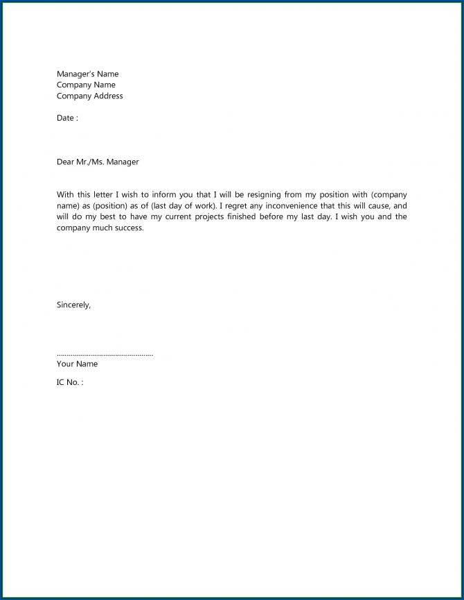 Free Printable Short Resignation Letter Template