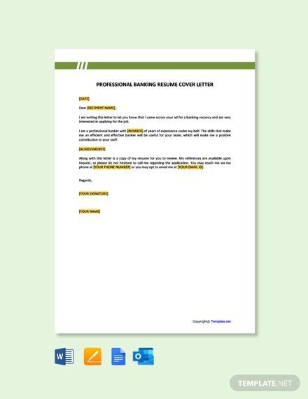 Free Professional Banking Resume Cover Letter Template In