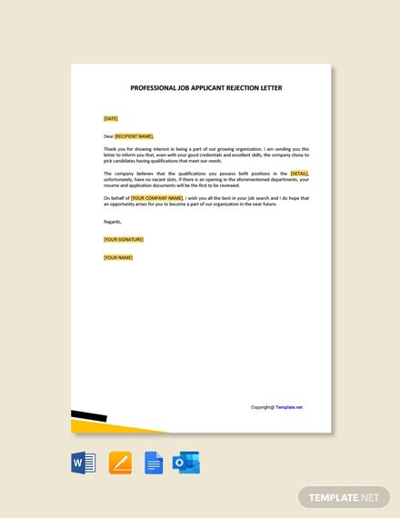 Free Professional Job Applicant Rejection Letter Template