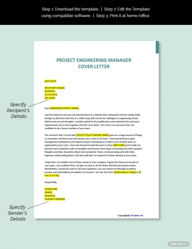 Free Project Engineering Manager Cover Letter Template Ad