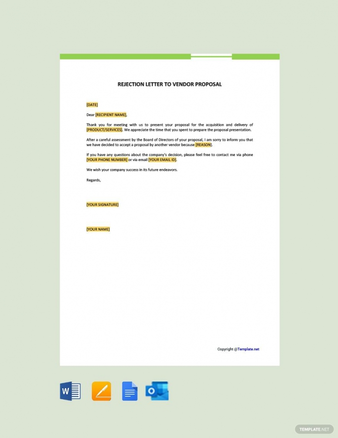 Free Rejection Letter To Vendor Proposal Ad    Paid  Rejection