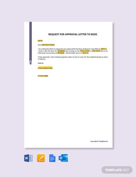 Free Request For Approval Letter To Boss Template