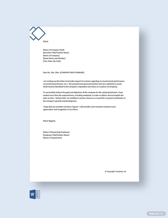 Free Request Letter To Company For Bonus In