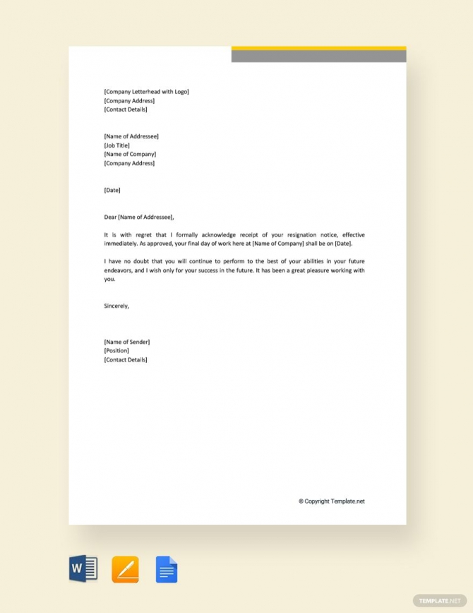 Free Resignation Acceptance Letter With Immediate Effect In