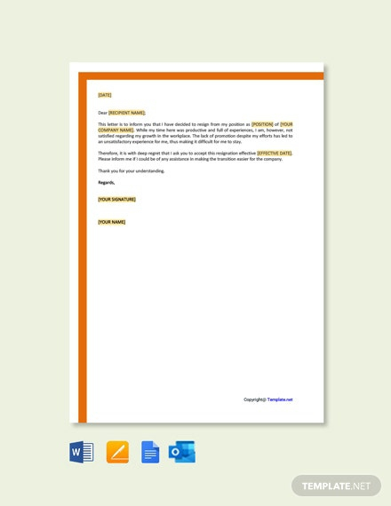 Free Resignation Due To Lack Of Promotion Letter Template