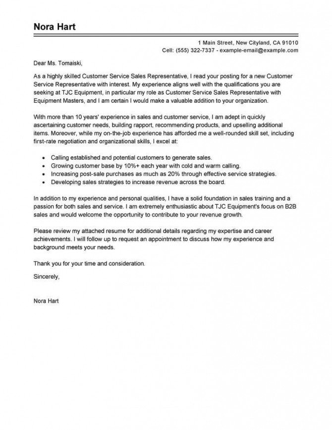 Free Sales Customer Service Representatives Cover Letter Examples
