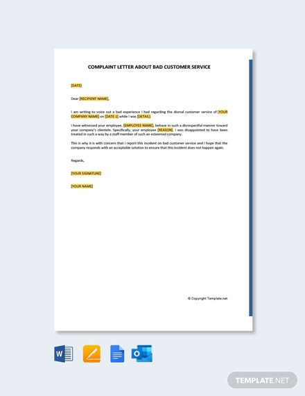 Free Sample Complaint Letter About Bad Customer Service Template