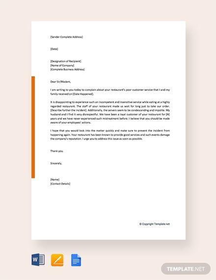 Free Sample Complaint Letter For Poor Customer Service