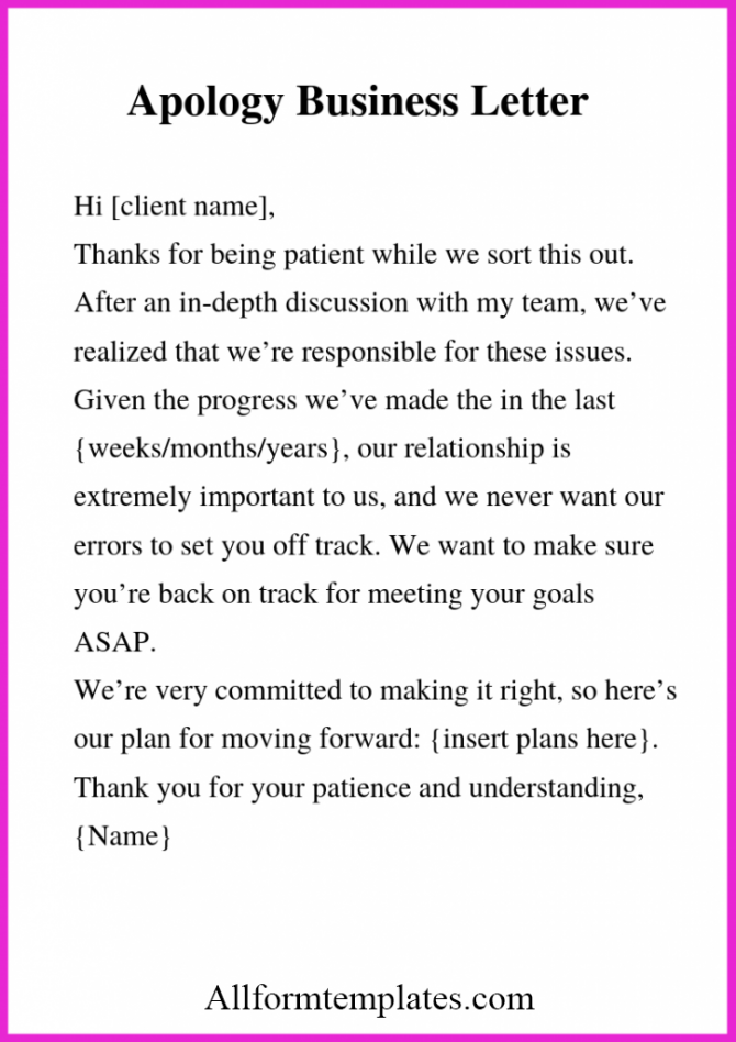 Free Sample Of Apology Business Letter Templates