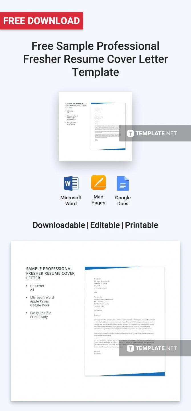 Free Sample Professional Fresher Resume Cover Letter