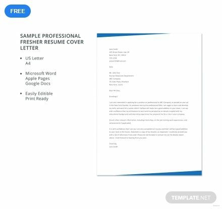 Free Sample Professional Fresher Resume Cover Letter Template