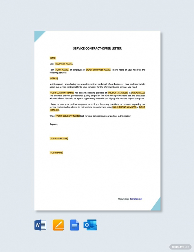 Free Service Contract Offer Letter In