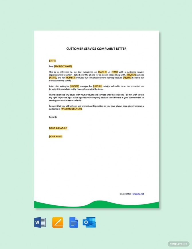 Free Simple Customer Service Complaint Letter In